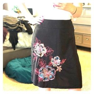New York & Company Brown Skirt with Flower details